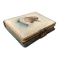 Photo Album Celluloid and Velvet with Brass Clasp pages intact Boy Picture
