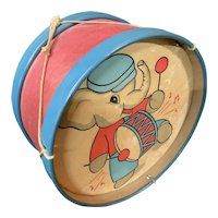 Childs Toy Drum Elephant playing drum Graphic