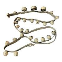 8 ft Set Sleigh Bells Horse Brass Leather Strap