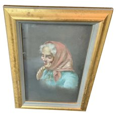 Oil Painting on board Framed Old Woman Unsigned