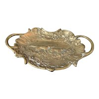 """Unusual Art Nouveau Hunter Dog Stamped Brass Pin Tray-Calling Card 4 1/2"""" X 3"""""""