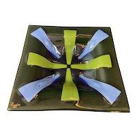 "Higgins Fused Glass 10"" Square Tray Dish Siamese Purple Blue Green Mid Century"