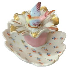 German Porcelain Inkwell Bird Stopper