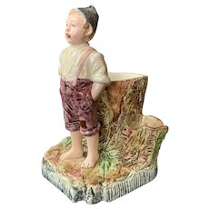 Majolica Cigar Holder and Striker Boy 1900