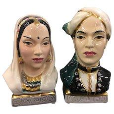 Gold crest Bust. Indian Prince & Princess. Fine China. Helen Liedloff signed. Goldcrest Ceramics Corporation