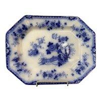 """Flow Blue Indian Platter Ceramic Marked 15"""""""