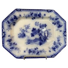 Flow Blue Indian Platter Ceramic Marked 15""
