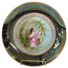 Austrian Decorative Plate with Beehive Mark, painted, signed, figurative