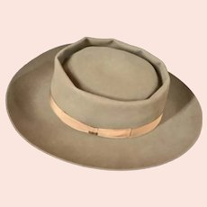 Wide Brim Pork Pie Hat Brown 1950's Sz 7 1/8 Knox Vaga Frank Lloyd Wright Signature Hat