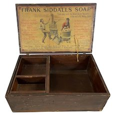 Antique Wood Siddell's Soap Advertising Box Crate Removable Insert
