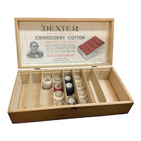 Dexter Yarn Company Display Primitive Embroidery Cotton Wood Box
