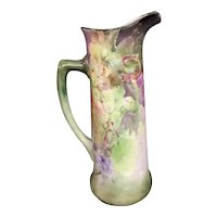 Limoge, Hand Painted, Grapes, Tankard, Pitcher