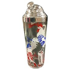 Military Rooster Cocktail Shaker whimsical red white blue bar mcm mid century