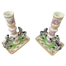 Mottahedeh Stately Homes Sir Humphrey Wakefield Rose Famille Pair of Candlestick