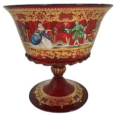 Pauly & co. Venezia, made in Italy Ruby Red Compote pedestal bowl. Masquerade sticker marking