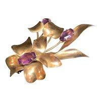 Sterling Pin Marked Jordon, Purple Stones
