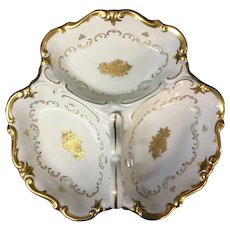 Reichenbach relish tray. Cream and gold with heavy gilt.