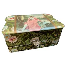 Men's Celluloid Dresser Box with Contents Woman sitting on bench. Original Lining. Shaving Mug