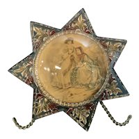 Victorian Morning Star Glass Paperweight with Pretty Women Photo