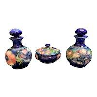 Moorcroft England  3 pc set 2 perfume bottles and powder jar