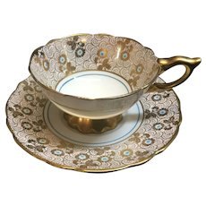 Royal Stafford Gold Chintz turquoise wide mouth tea cup