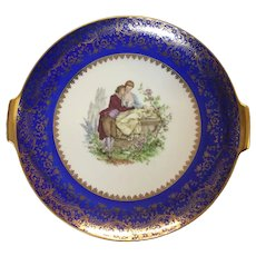 Rosenthal Cobalt Cake plate courting couple
