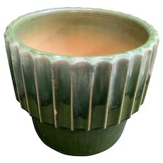 Roseville RRPCO Planter Mid Century Modern Gear Design with Green Drip Glaze