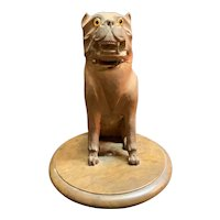 Hand Carved Mastiff Dog Inkwell Ink Well France 1880