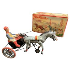 Tin Toy DPa DGM Arabian no 5 Wind up Horse -Original box - Working With Key Made in Germany