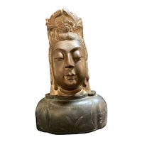Carved Marble Head with Wood Vase