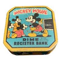 Disney Mickey Mouse 1959 Dime Coin Bank Tin