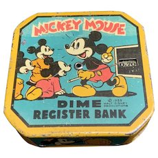 Disney Mickey Mouse 1959 Dime Coin Bank Tin