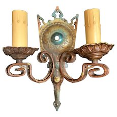 PAIR Wall Sconce Double Candle Holder Light Metalware Brass Rewired