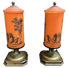 PAIR Art Deco Frosted Orange Tangerine Fairy Lamps