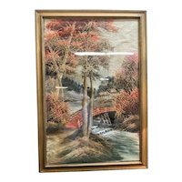 Beautiful 1930's Embroidered Scene Framed