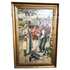 """Westminster Rye Whiskey Self Framed Tin Sign. C.H. Ritter & Co. Inc. Entitled, """"Settled Out Of Court"""", outstanding color and graphics. Chas. Shonk Lithographer No. J4349."""