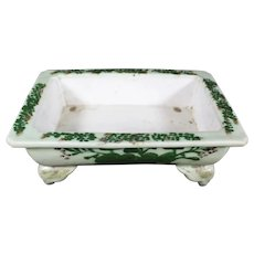 Four Footed Ceramic Celadon Trough Bowl