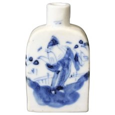Blue & White Snuff Bottle Depicting An Oriental Character