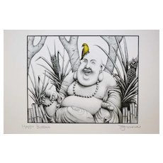 Happy Buddha - Birds on Prints Signed Print by Don McMahon
