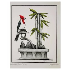 Hawaiian Red Crest - Birds on Prints Signed Print by Don McMahon