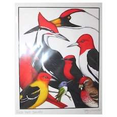 Red Hat Society - Birds on Prints Signed Print by Don McMahon