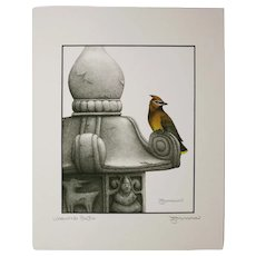 Waxwing Poetic - Birds on Prints Signed Print by Don McMahon