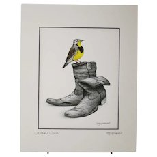 Western Wear - Birds on Prints Signed Print by Don McMahon