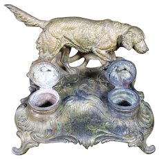 Hunting Dog Double Inkwell