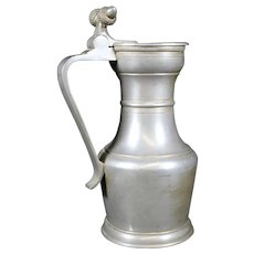 Pewter  Lidded Handled Jug With Acorn Decor