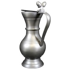 Pewter Lidded Handled Jug With Double Acorn Decor