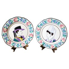 Henriot Quimper Pair of Plates - Breton Characters - Wall Plates