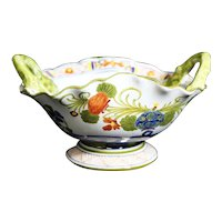 Italian Double Handled Floral Scalloped Oval Dish - CACF Faenca -