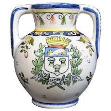 Double Handled French Blue Jar or Vase - Vernon Semper Viret
