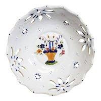 Pierced Ceramic Decorated Bowl Atop a Metal Mount